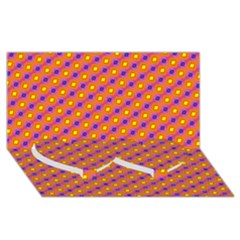 Vibrant Retro Diamond Pattern Twin Heart Bottom 3D Greeting Card (8x4)