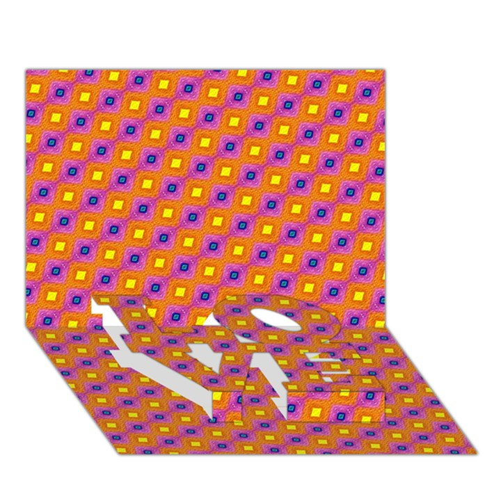 Vibrant Retro Diamond Pattern LOVE Bottom 3D Greeting Card (7x5)