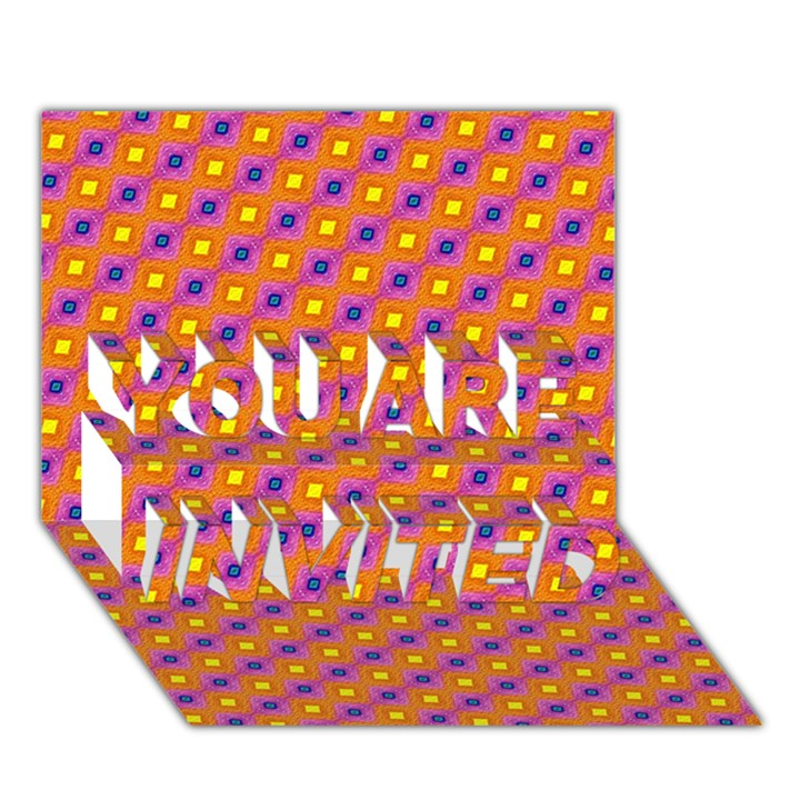 Vibrant Retro Diamond Pattern YOU ARE INVITED 3D Greeting Card (7x5)