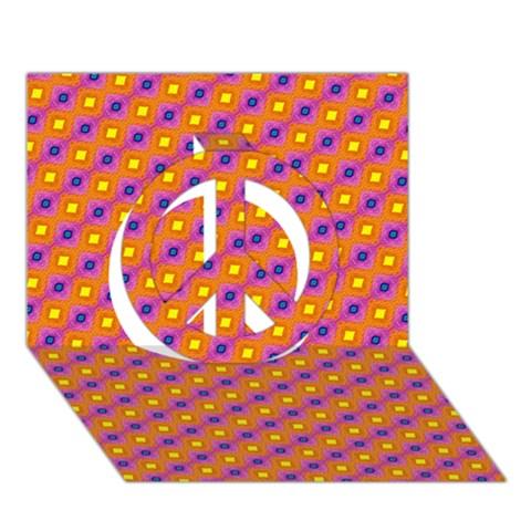 Vibrant Retro Diamond Pattern Peace Sign 3D Greeting Card (7x5)