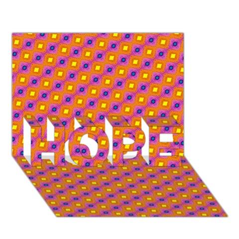 Vibrant Retro Diamond Pattern HOPE 3D Greeting Card (7x5)