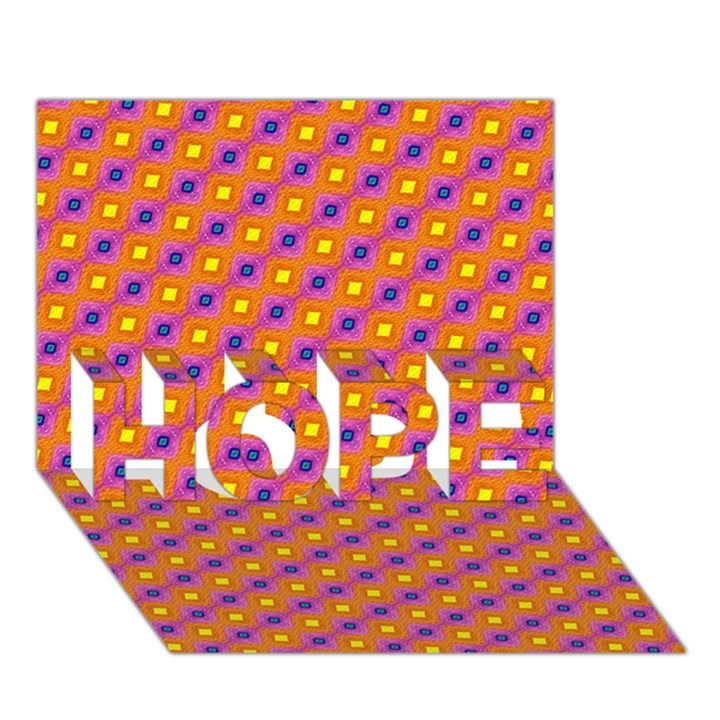 Vibrant Retro Diamond Pattern HOPE 3D Greeting Card (7x5)