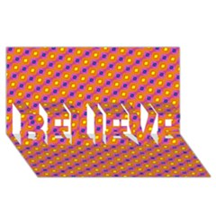 Vibrant Retro Diamond Pattern BELIEVE 3D Greeting Card (8x4)