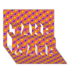 Vibrant Retro Diamond Pattern TAKE CARE 3D Greeting Card (7x5)