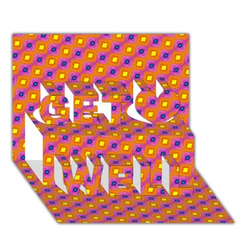 Vibrant Retro Diamond Pattern Get Well 3D Greeting Card (7x5)