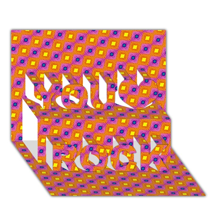 Vibrant Retro Diamond Pattern You Rock 3D Greeting Card (7x5)