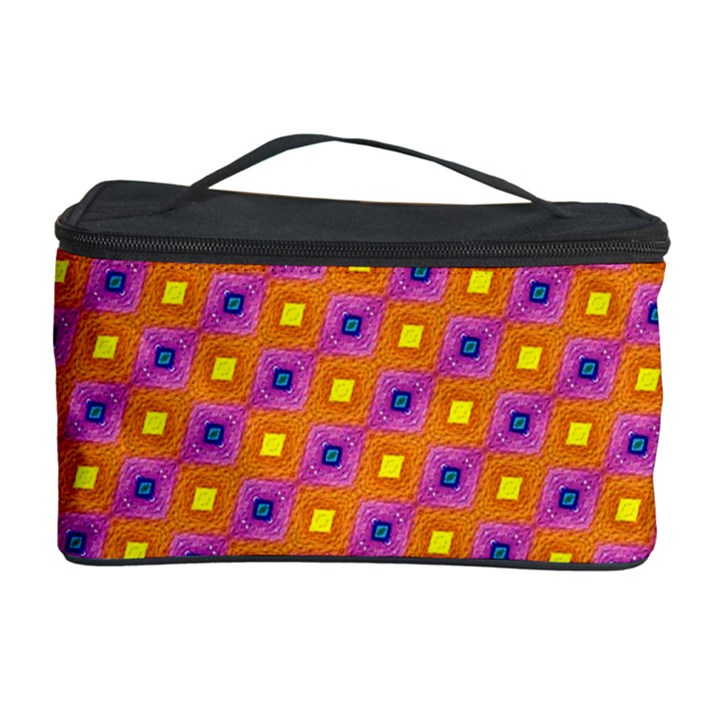 Vibrant Retro Diamond Pattern Cosmetic Storage Case