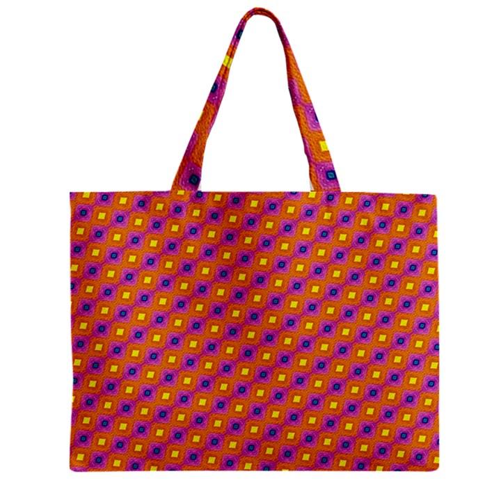 Vibrant Retro Diamond Pattern Zipper Mini Tote Bag