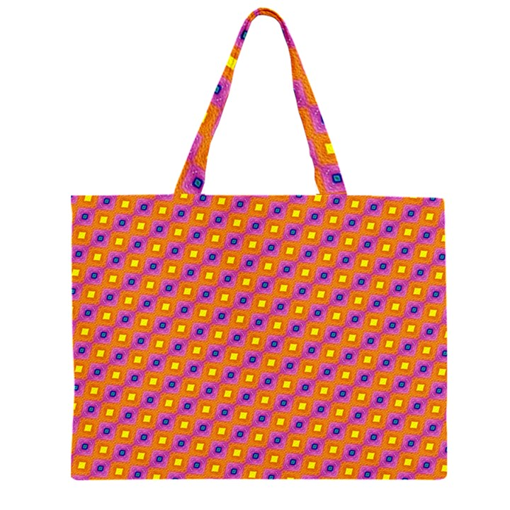 Vibrant Retro Diamond Pattern Large Tote Bag