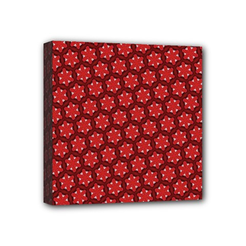 Red Passion Floral Pattern Mini Canvas 4  X 4