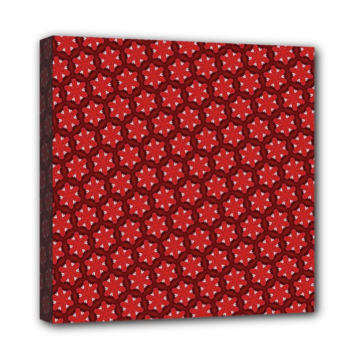 Red Passion Floral Pattern Mini Canvas 8  x 8
