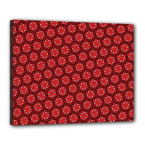Red Passion Floral Pattern Canvas 20  X 16