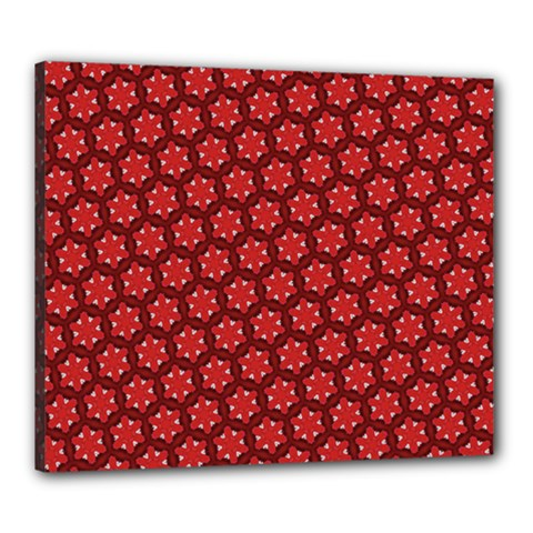 Red Passion Floral Pattern Canvas 24  X 20