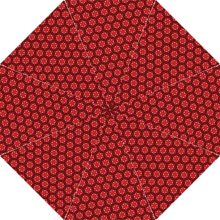 Red Passion Floral Pattern Folding Umbrellas
