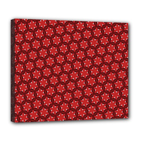 Red Passion Floral Pattern Deluxe Canvas 24  x 20