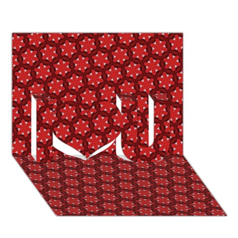 Red Passion Floral Pattern I Love You 3D Greeting Card (7x5)