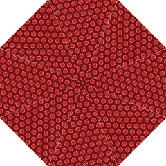 Red Passion Floral Pattern Hook Handle Umbrellas (Large)