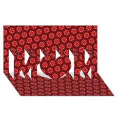 Red Passion Floral Pattern MOM 3D Greeting Card (8x4)
