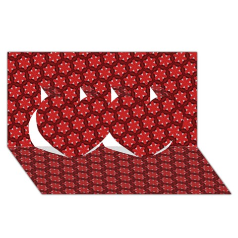 Red Passion Floral Pattern Twin Hearts 3D Greeting Card (8x4)