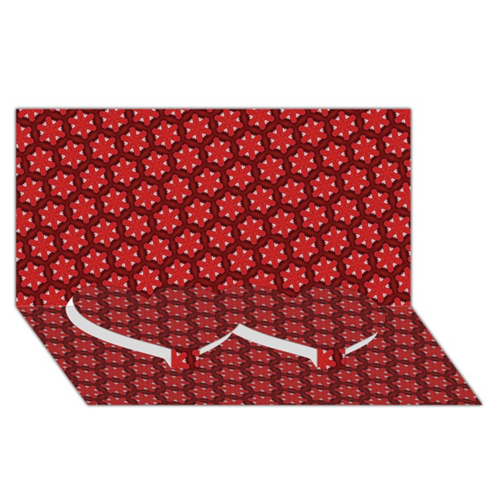 Red Passion Floral Pattern Twin Heart Bottom 3D Greeting Card (8x4)