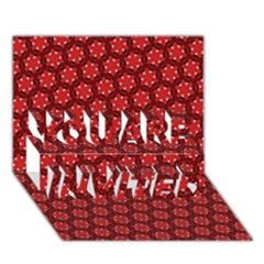 Red Passion Floral Pattern You Are Invited 3d Greeting Card (7x5)