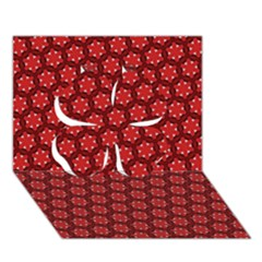 Red Passion Floral Pattern Clover 3d Greeting Card (7x5)