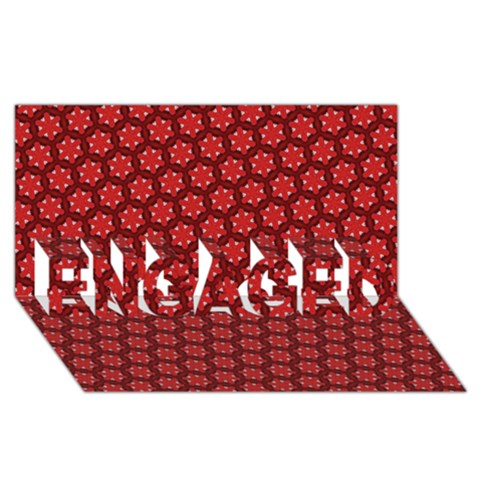 Red Passion Floral Pattern ENGAGED 3D Greeting Card (8x4)