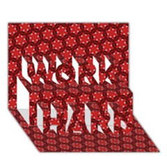 Red Passion Floral Pattern Work Hard 3d Greeting Card (7x5)