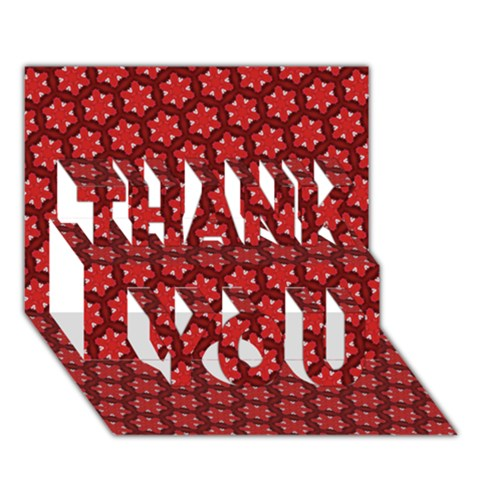 Red Passion Floral Pattern THANK YOU 3D Greeting Card (7x5)