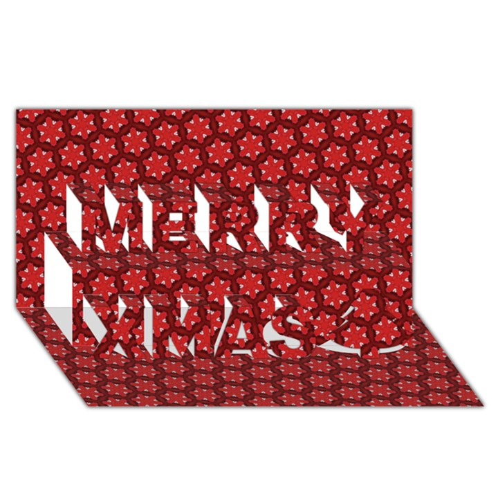 Red Passion Floral Pattern Merry Xmas 3D Greeting Card (8x4)