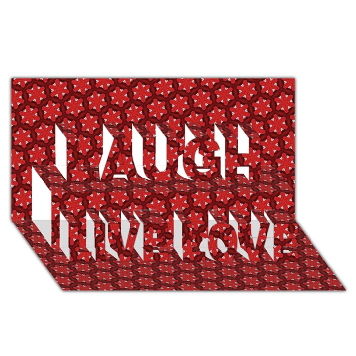Red Passion Floral Pattern Laugh Live Love 3D Greeting Card (8x4)