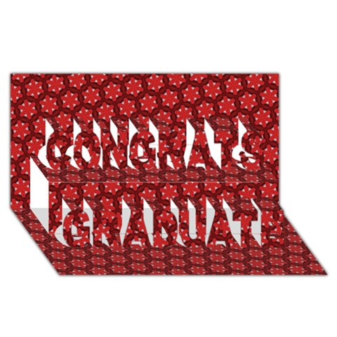 Red Passion Floral Pattern Congrats Graduate 3D Greeting Card (8x4)