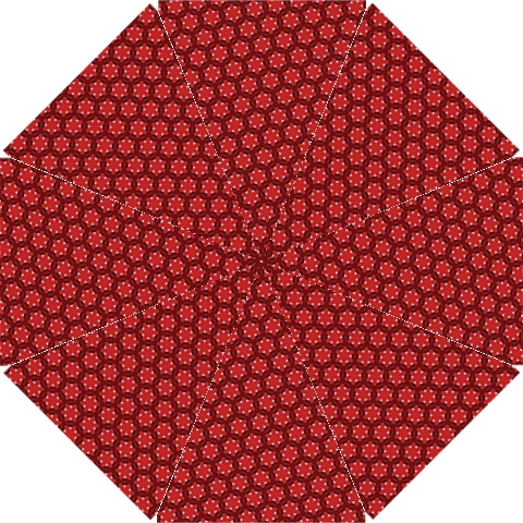 Red Passion Floral Pattern Hook Handle Umbrellas (Small)