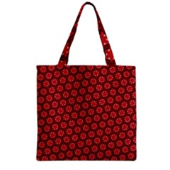 Red Passion Floral Pattern Grocery Tote Bag