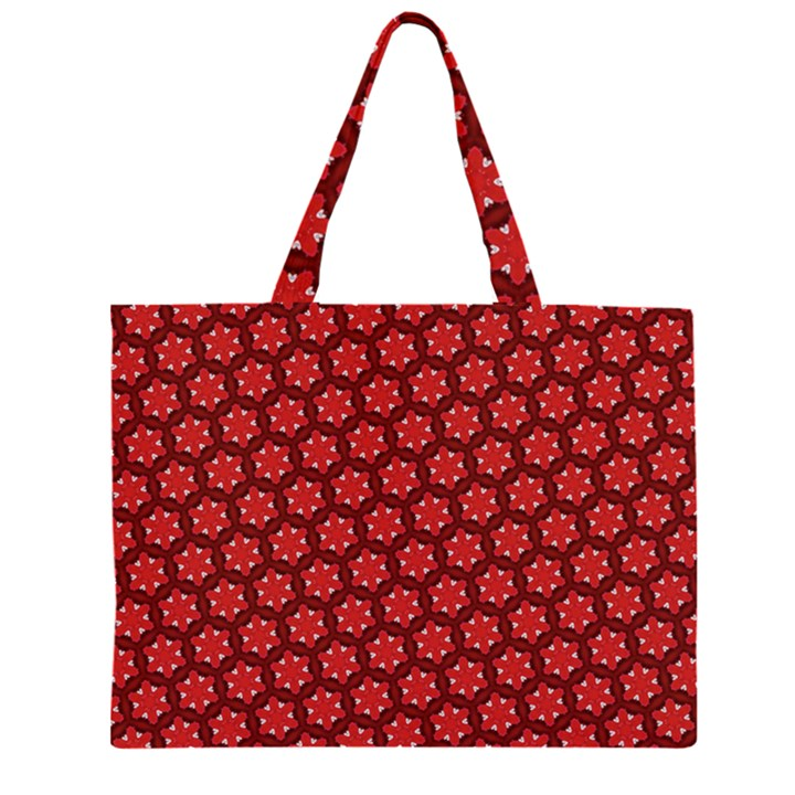 Red Passion Floral Pattern Large Tote Bag