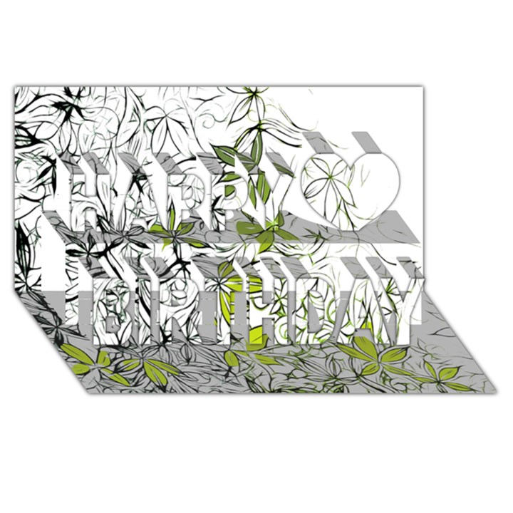 Floral Pattern Background  Happy Birthday 3D Greeting Card (8x4)