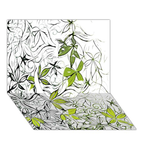 Floral Pattern Background  Apple 3D Greeting Card (7x5)