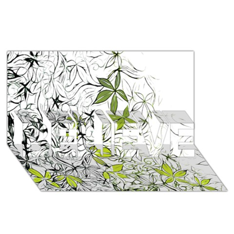 Floral Pattern Background  BELIEVE 3D Greeting Card (8x4)