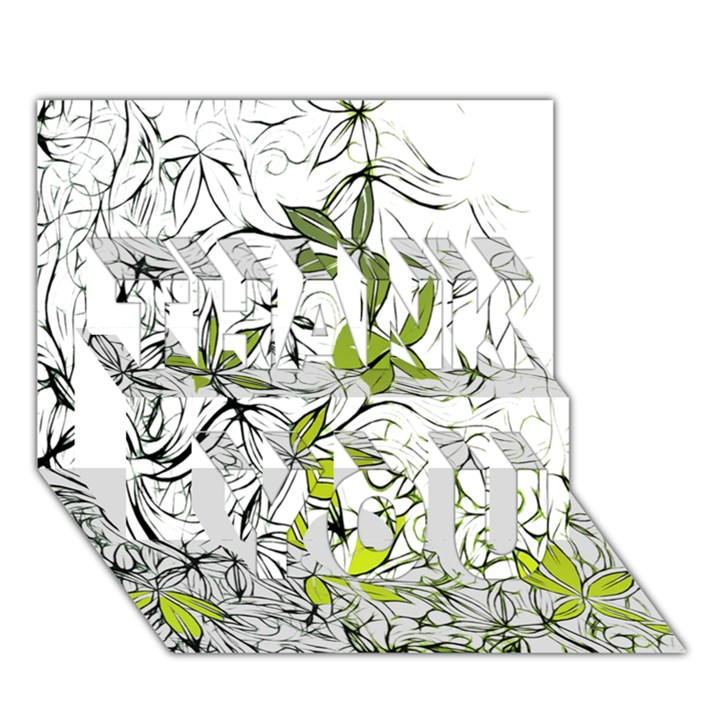 Floral Pattern Background  THANK YOU 3D Greeting Card (7x5)