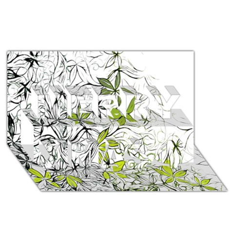 Floral Pattern Background  Merry Xmas 3D Greeting Card (8x4)