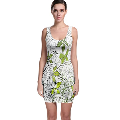Floral Pattern Background  Sleeveless Bodycon Dress