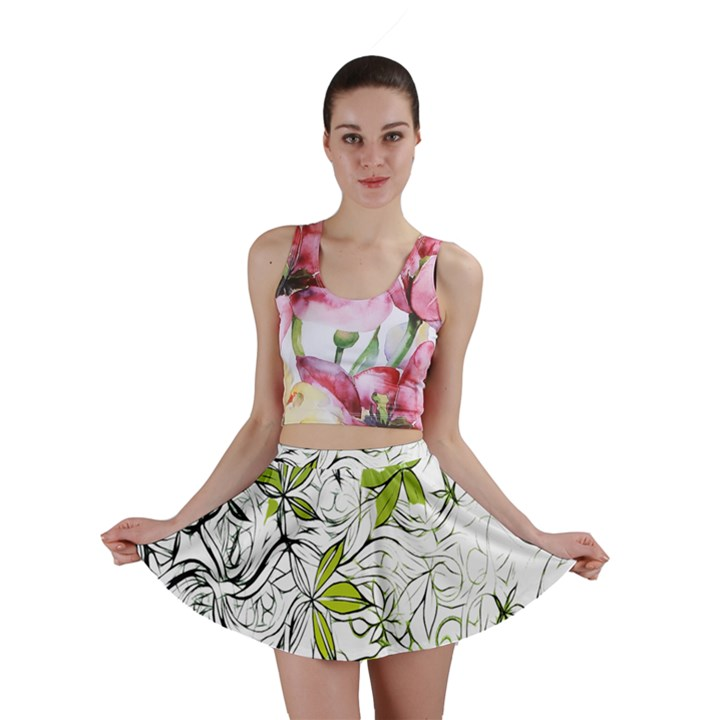 Floral Pattern Background  Mini Skirt