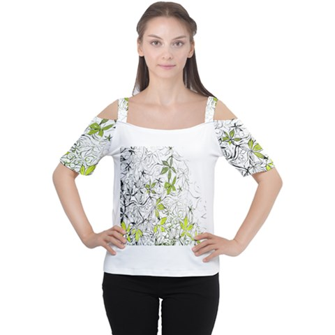 Floral Pattern Background  Women s Cutout Shoulder Tee