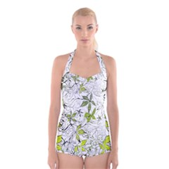 Floral Pattern Background  Boyleg Halter Swimsuit