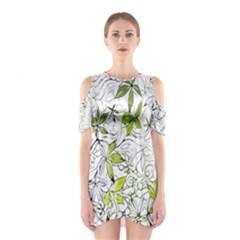 Floral Pattern Background  Cutout Shoulder Dress