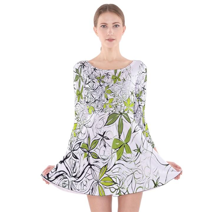 Floral Pattern Background  Long Sleeve Velvet Skater Dress