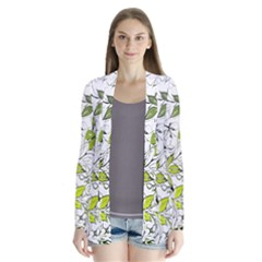 Floral Pattern Background  Drape Collar Cardigan