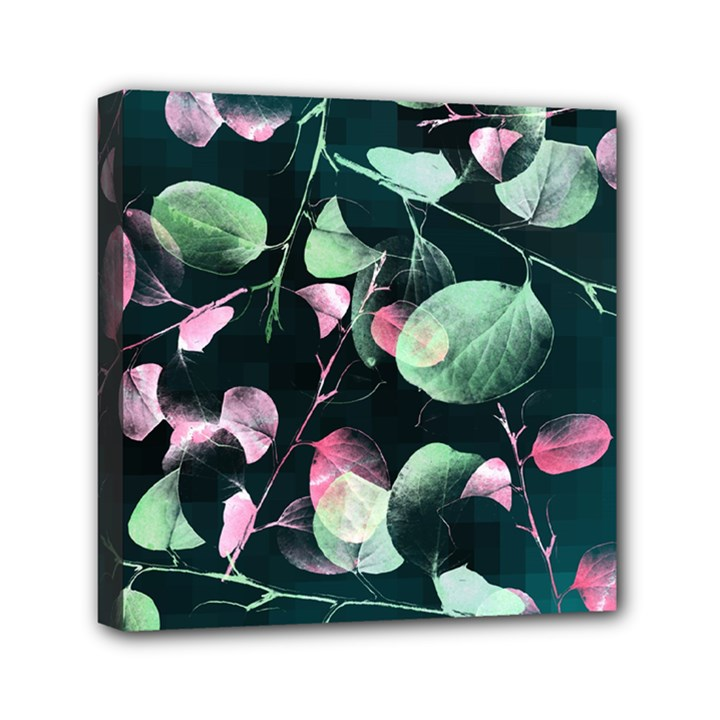 Modern Green And Pink Leaves Mini Canvas 6  x 6