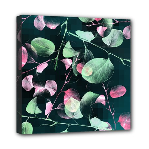 Modern Green And Pink Leaves Mini Canvas 8  x 8