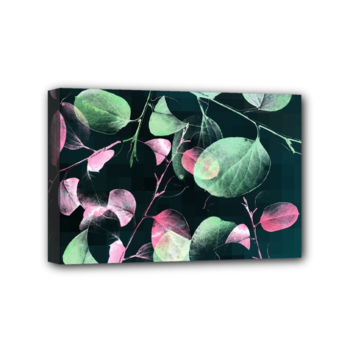 Modern Green And Pink Leaves Mini Canvas 6  x 4